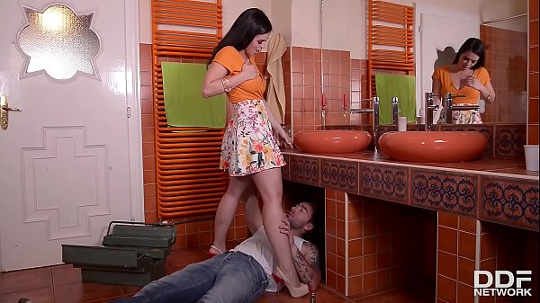 Brunette hot babe Nekane gets her tight ass fucked balls deep by plumber