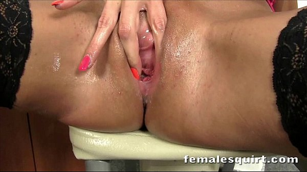 Cute blonde stuffing her pussy with a toy until she explodes and squirts
