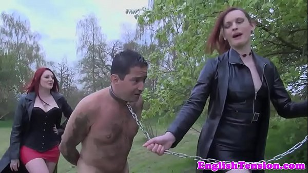 Femdom spitroast sub outdoors in forest