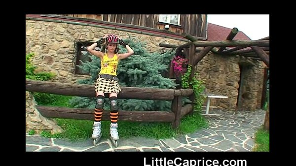 Little Caprice learns roller skating naked outdoors!  thumbnail