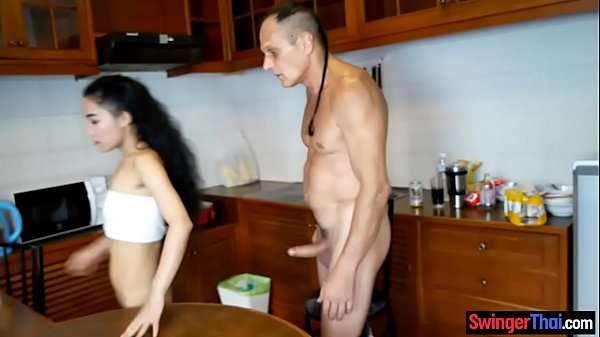 Cheating Thai wife fucks husband and then another guy