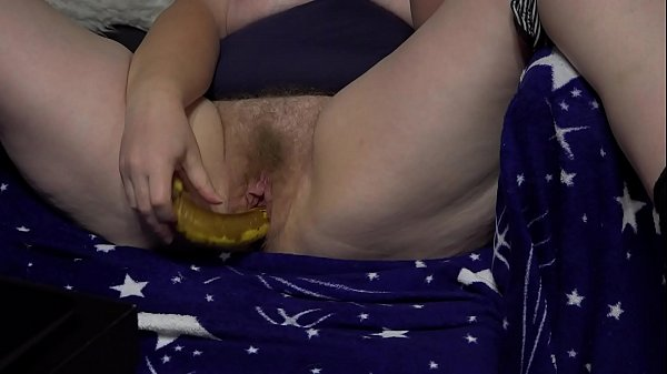 A powerful hole in hairy pussy crushed a banana and then fucked with a dildo. Mature BBW again cheating on her husband before the webcam