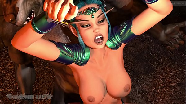 Elf Sorceress bound & fucked in dungeon by two werewolf monsters. 3D monster porn fairy tale you won't forget!