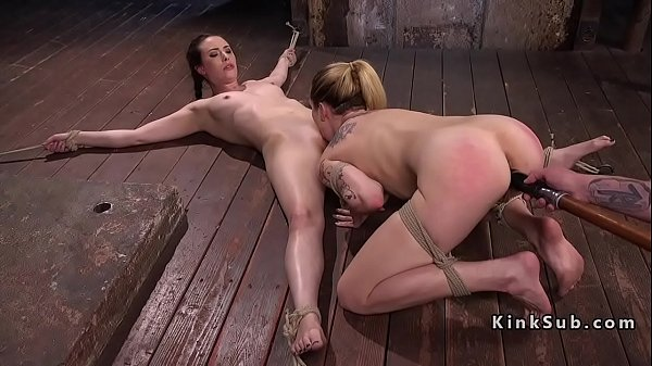 Two slave babes in bondage whipped