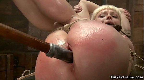 Big ass blonde toyed on hogtie