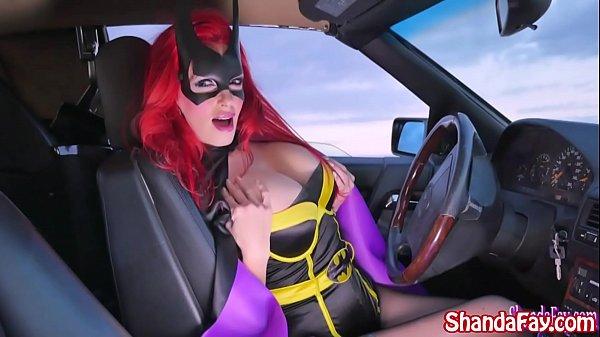 Shanda Fay is BatGirl Blowing Big Cock in Car!