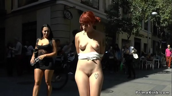 Redhead slave group fucked in bar