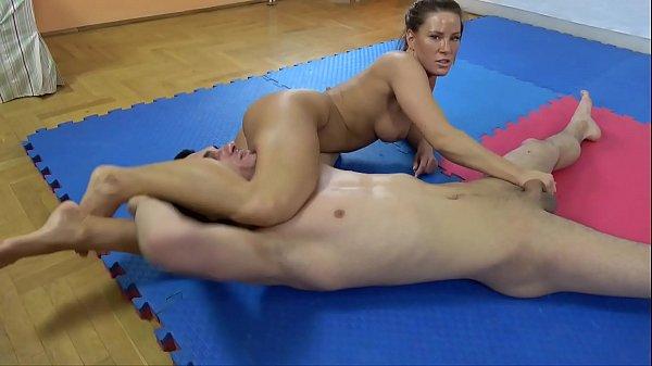 Athina vs. Imi - nude ballbusting mixed wrestling