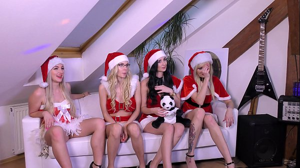 A VERY HAPPY CHRISTMAS PARTY IN SANTA CLAUS COSTUMES & BIG ASS SURPRISES