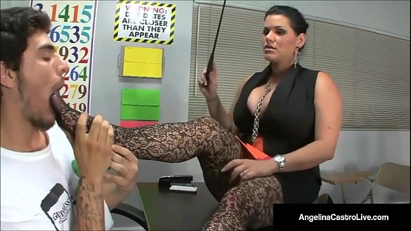 Ms. Angelina Castro Makes Student Roxanne Rae Do a Foot Job! Thumb