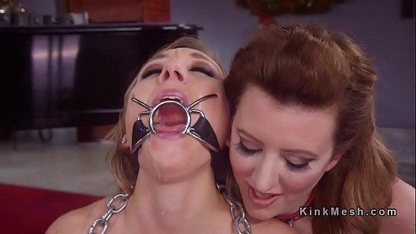 Blonde slave throat fucked through spider gag