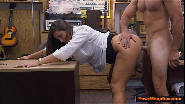 Brunette jerks and blows pawnshopowners cock be...