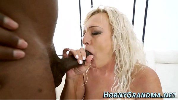 Gilf sucks on black cock