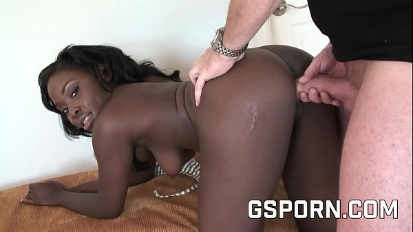 Stupid ebony fucked by rare white guy