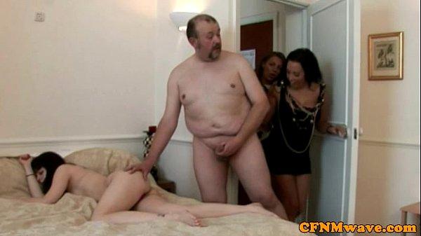 CFNM voyeurs spray her with cum