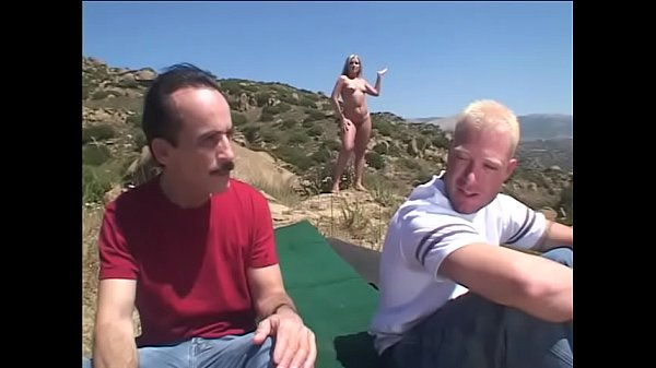 Juicy blonde Flower Tucci likes to dance naked and get drilled by couple of horny dudes outdoors