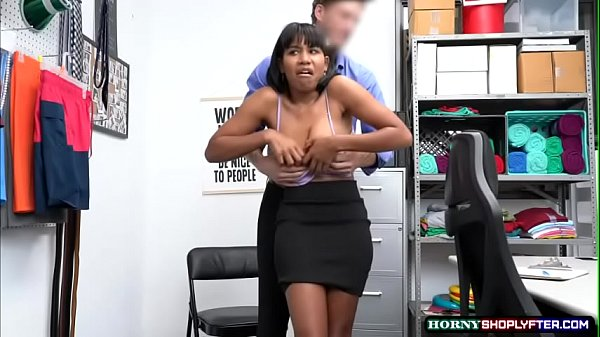Sexy ebony gets fucked by horny Security Guard