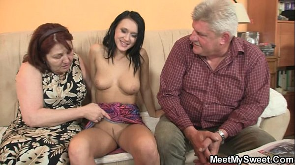 He finding his GF riding his dad's cock