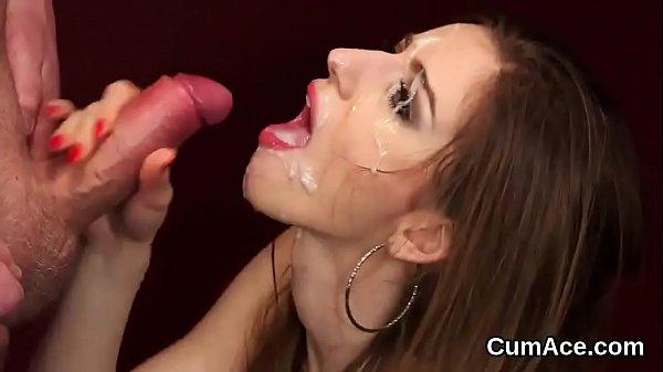 Wacky looker gets cum shot on her face gulping all the cum Thumb
