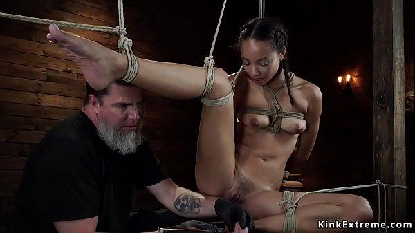 Latina slave spanked in hogtie bondage