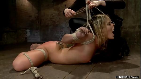 Blonde lesbian anal fucked on hogtie