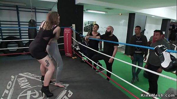 Petite slut gangbanged in local boxing gym