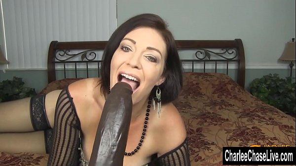 Horny Big Tit MILF Charlee Chase Stuffs Pussy With Big Black Dildo Thumb