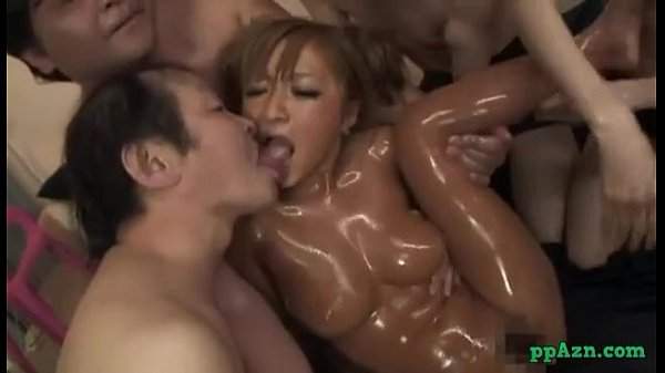 Hot Tanned Asian Girl Massaged With Lotion Fingered By Men Fucking With One Of T