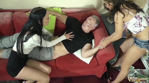 Incredible hardcore pussy fucking on old young threesome