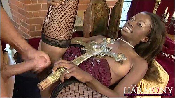HARMONY VISION Black slut takes on two white boys