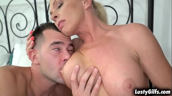 Naughty maid Franny sucking a young cock and takes it deep inside her throat and she gags on its size