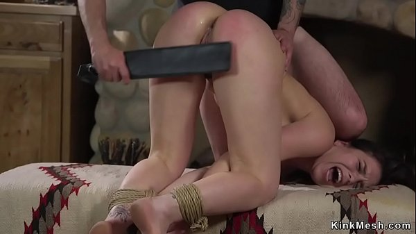 Tied up student paddled and fucked