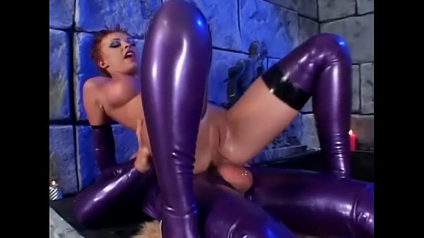 Anal sex in shiny latex lingerie and high heels Thumb