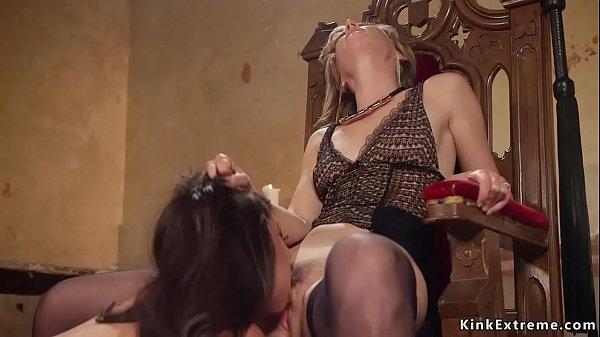 Hairy lesbian mistress anal fucks slave
