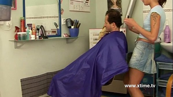 Mature man seduced by a young naughty hairdresser