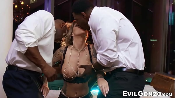 Busty glam hottie DP fucked by two hung black s...