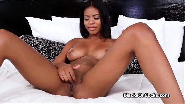 Having fun with beautiful big firm black tits o...