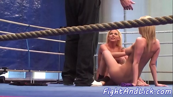Busty dyke dominated over by wrestling babe