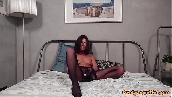 Sexy Milf Marina Masturbating In Black Pantyhose On Bed