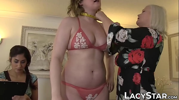 Young lady examined by mature temptress before threesome