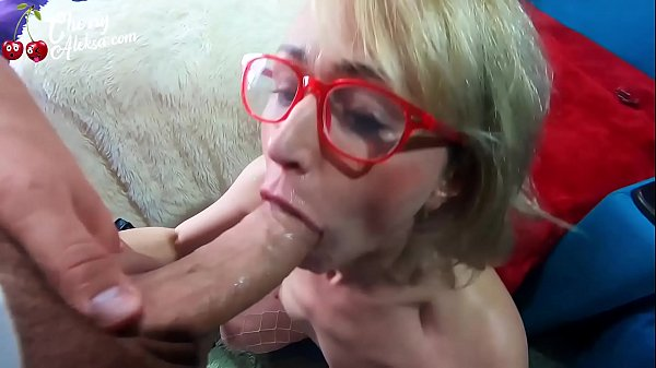 Blonde Sloppy Deepthroat and Cum on Face in Stockings