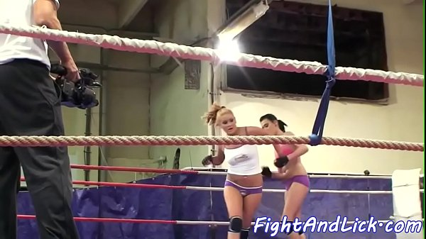 Amateur lesbian babes wrestling in a ring