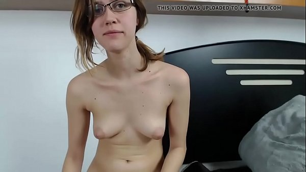Nerdy with glass and shaved pussy orgasm with dildo on cam - camadultxxx.com