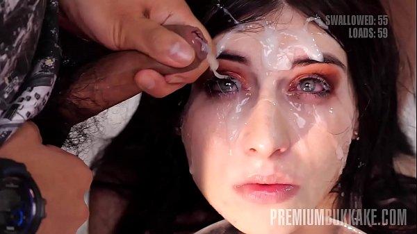 Premium Bukkake - Sheril Blossom swallows 70 big mouthful cumshots