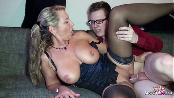 German Stepmom Help Huge Cock Virgin Boy with First Fuck