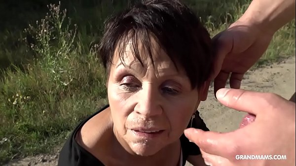 Short haired granny gets b. fingering on a BM