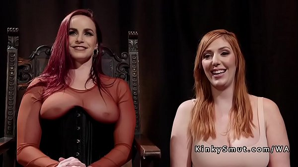 Redhead bdsm lesbo strap on anal fucked