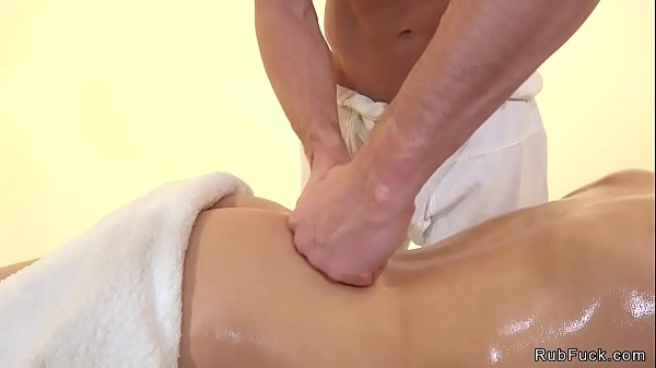 Oiled blonde babe fucks masseurs cock