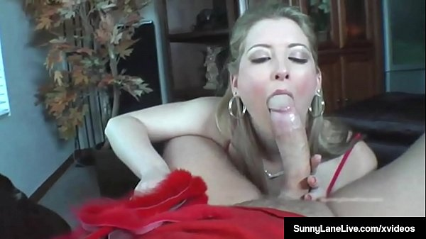 Whipped Sunny Lane Jerks Off & Blows A Hard Cock!