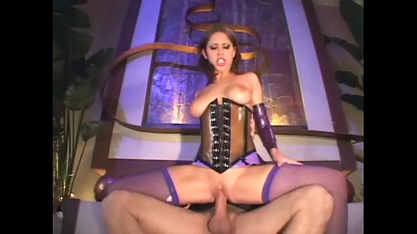 Brunette fucks in a shiny latex corset and fishnets Thumb